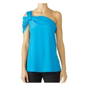 Baja East Knotted One Shoulder Top 0 Sleeveless
